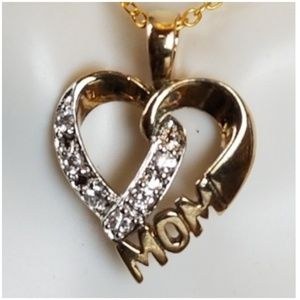 "14k & Diamonds Mom Heart Pendant 1"" long"